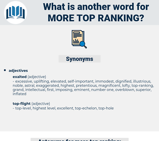 more top ranking, synonym more top ranking, another word for more top ranking, words like more top ranking, thesaurus more top ranking