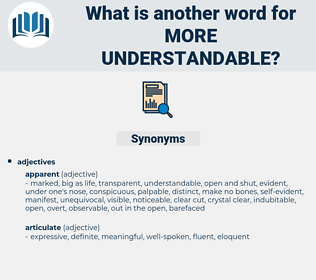 more understandable, synonym more understandable, another word for more understandable, words like more understandable, thesaurus more understandable