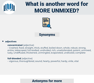 more unmixed, synonym more unmixed, another word for more unmixed, words like more unmixed, thesaurus more unmixed
