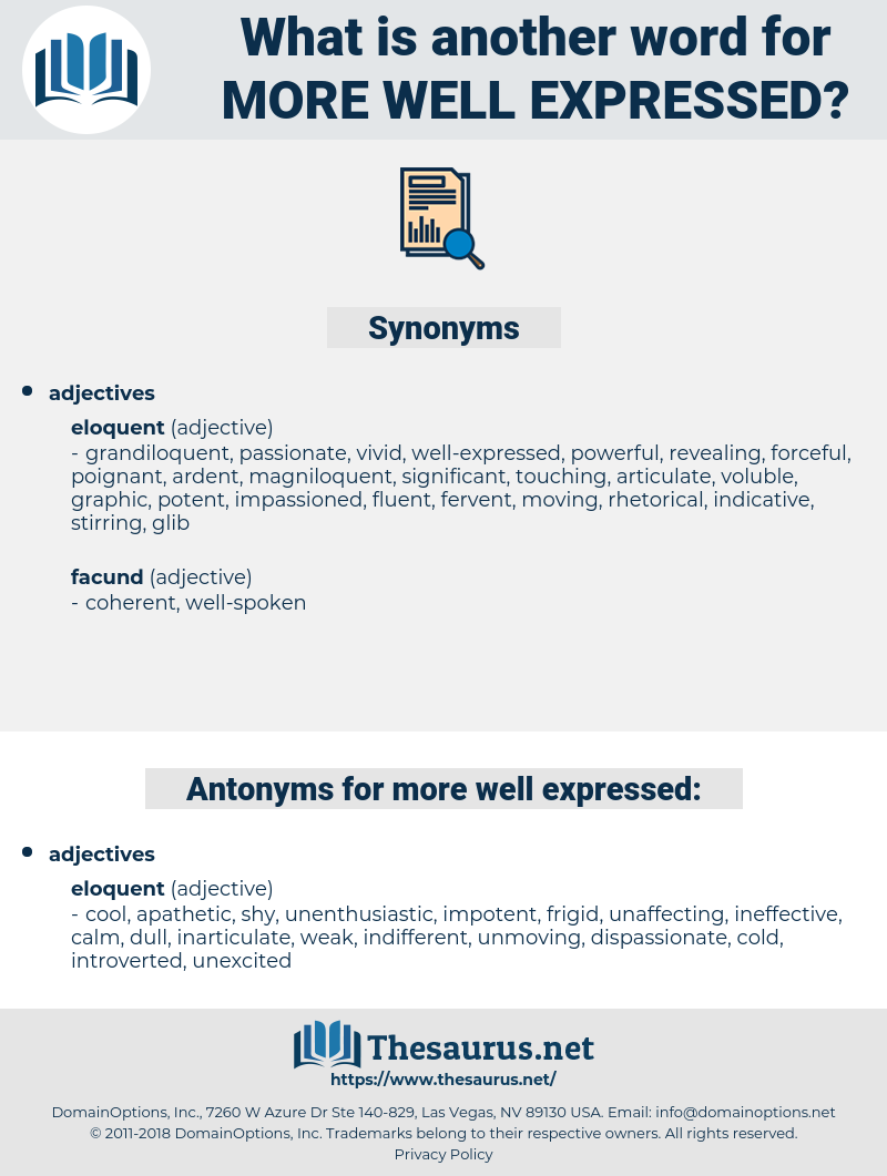 more well-expressed, synonym more well-expressed, another word for more well-expressed, words like more well-expressed, thesaurus more well-expressed