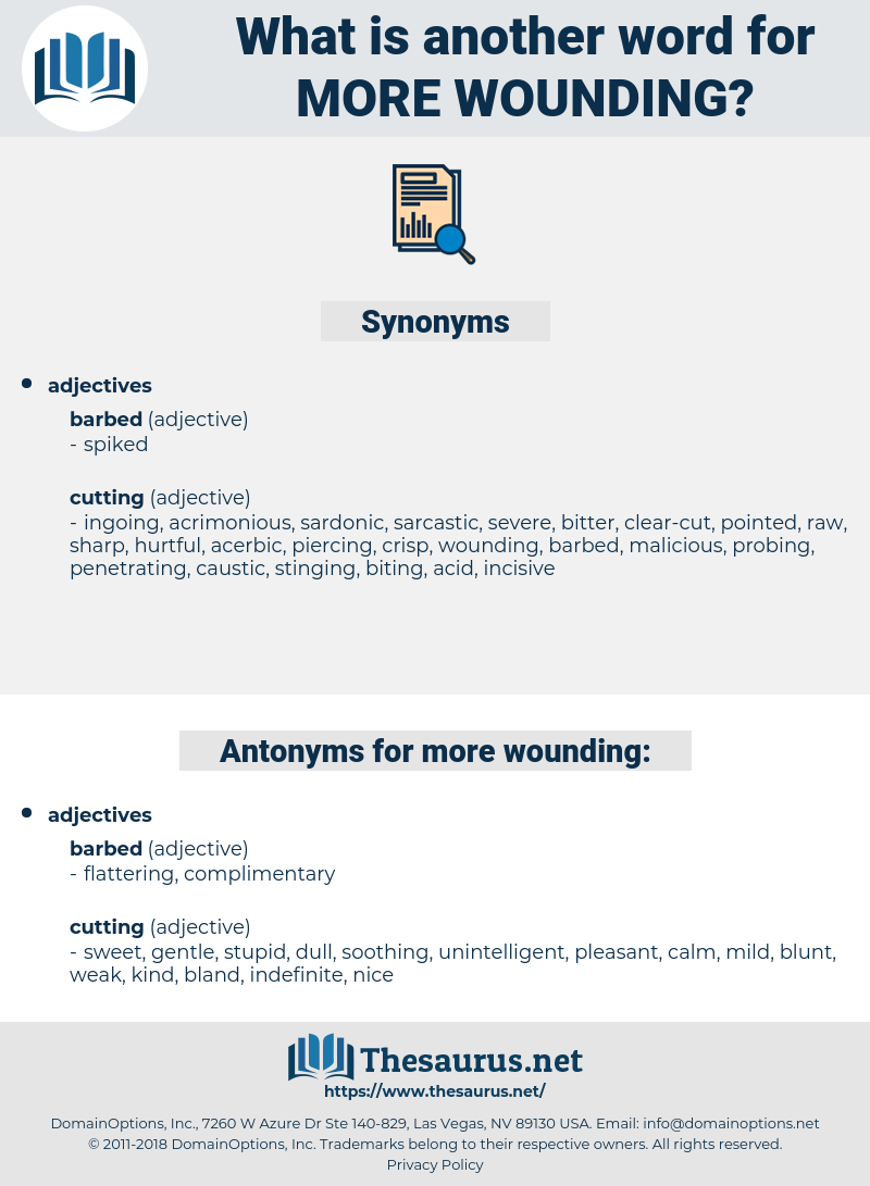 more wounding, synonym more wounding, another word for more wounding, words like more wounding, thesaurus more wounding