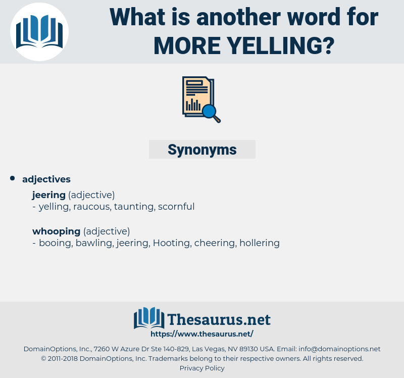 more yelling, synonym more yelling, another word for more yelling, words like more yelling, thesaurus more yelling