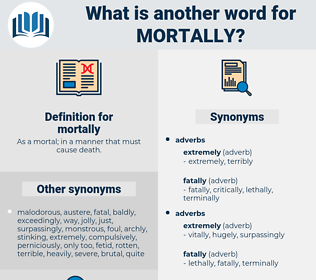 mortally, synonym mortally, another word for mortally, words like mortally, thesaurus mortally