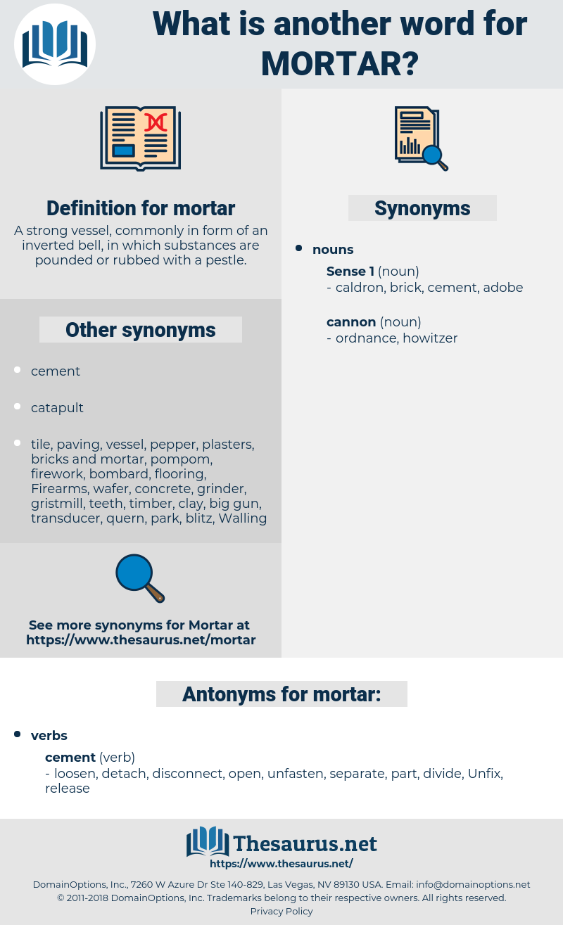 mortar, synonym mortar, another word for mortar, words like mortar, thesaurus mortar