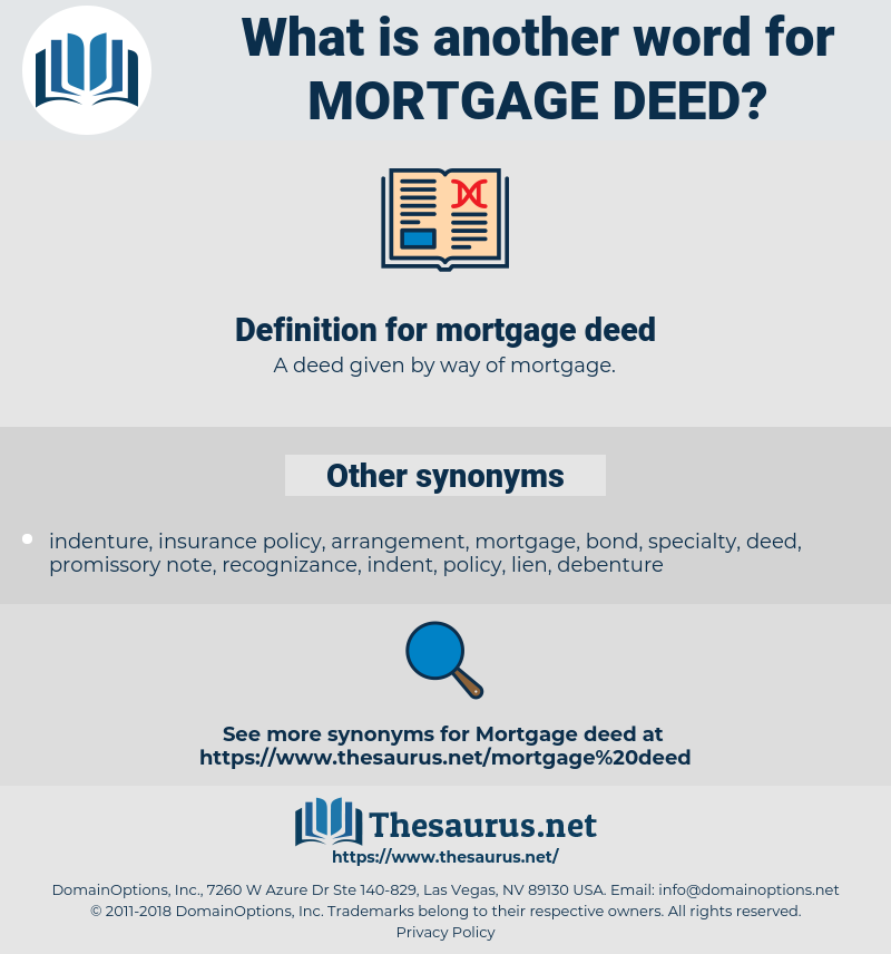 mortgage deed, synonym mortgage deed, another word for mortgage deed, words like mortgage deed, thesaurus mortgage deed