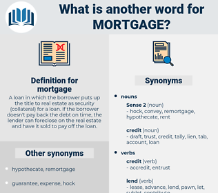 mortgage, synonym mortgage, another word for mortgage, words like mortgage, thesaurus mortgage