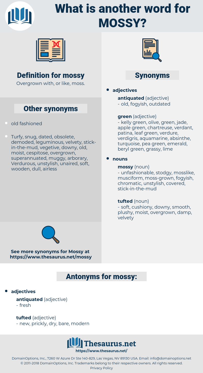 mossy, synonym mossy, another word for mossy, words like mossy, thesaurus mossy