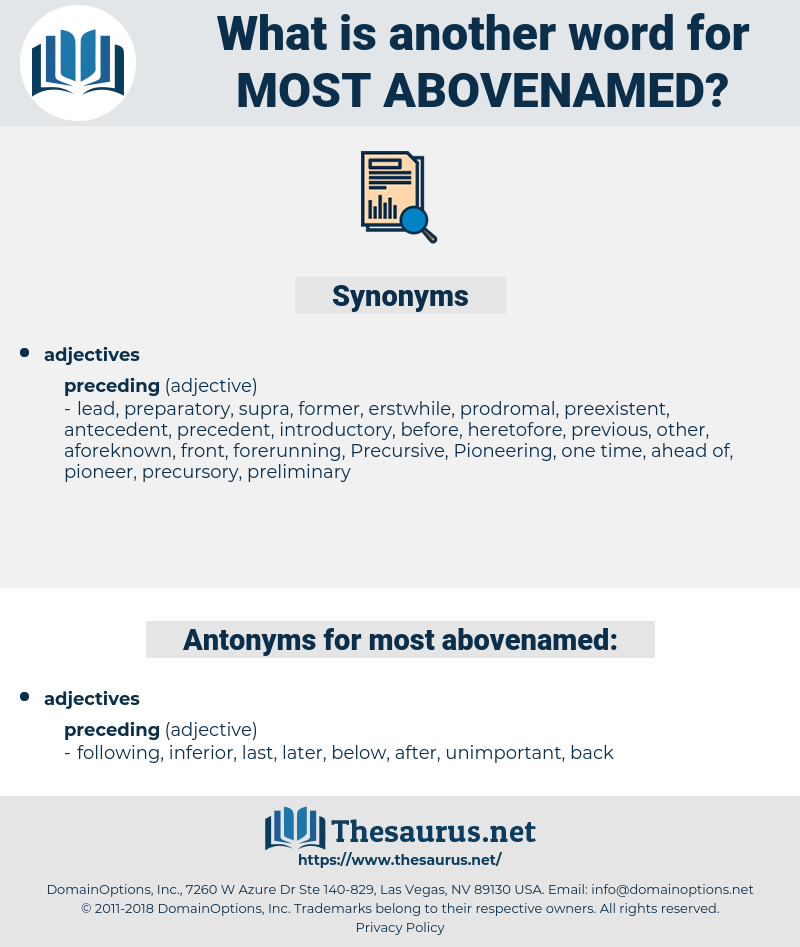 most abovenamed, synonym most abovenamed, another word for most abovenamed, words like most abovenamed, thesaurus most abovenamed