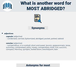 most abridged, synonym most abridged, another word for most abridged, words like most abridged, thesaurus most abridged