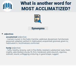 most acclimatized, synonym most acclimatized, another word for most acclimatized, words like most acclimatized, thesaurus most acclimatized