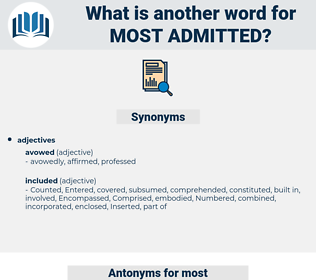 most admitted, synonym most admitted, another word for most admitted, words like most admitted, thesaurus most admitted