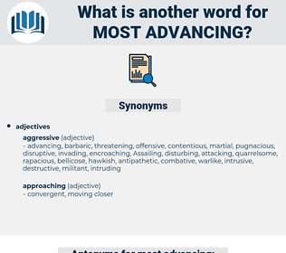 most advancing, synonym most advancing, another word for most advancing, words like most advancing, thesaurus most advancing