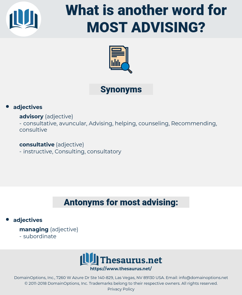 most advising, synonym most advising, another word for most advising, words like most advising, thesaurus most advising