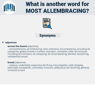most allembracing, synonym most allembracing, another word for most allembracing, words like most allembracing, thesaurus most allembracing