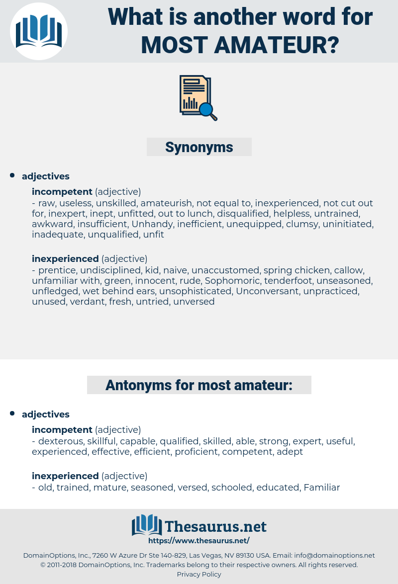 most amateur, synonym most amateur, another word for most amateur, words like most amateur, thesaurus most amateur
