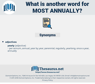 most annually, synonym most annually, another word for most annually, words like most annually, thesaurus most annually