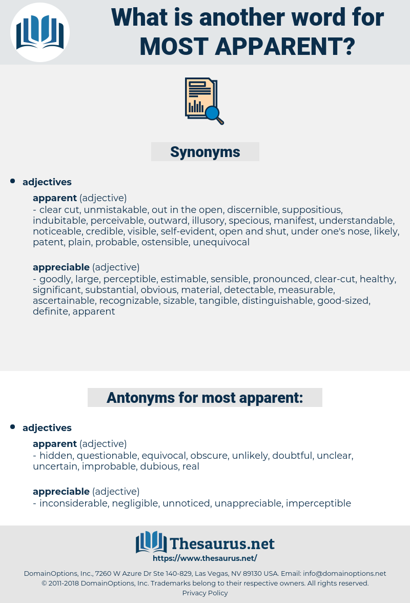 most apparent, synonym most apparent, another word for most apparent, words like most apparent, thesaurus most apparent