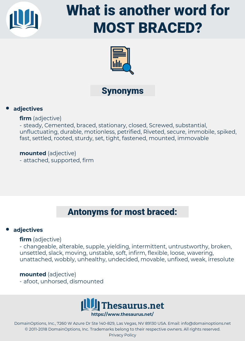 most braced, synonym most braced, another word for most braced, words like most braced, thesaurus most braced