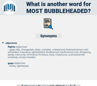 most bubbleheaded, synonym most bubbleheaded, another word for most bubbleheaded, words like most bubbleheaded, thesaurus most bubbleheaded