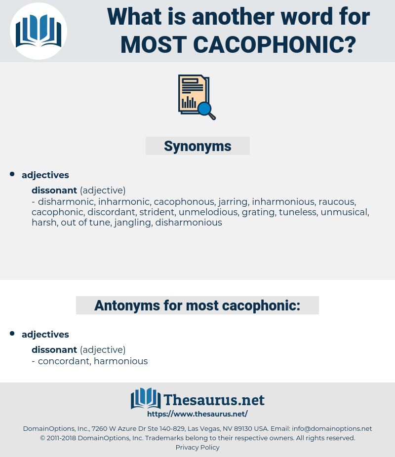 most cacophonic, synonym most cacophonic, another word for most cacophonic, words like most cacophonic, thesaurus most cacophonic