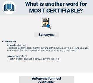 most certifiable, synonym most certifiable, another word for most certifiable, words like most certifiable, thesaurus most certifiable