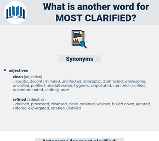 most clarified, synonym most clarified, another word for most clarified, words like most clarified, thesaurus most clarified