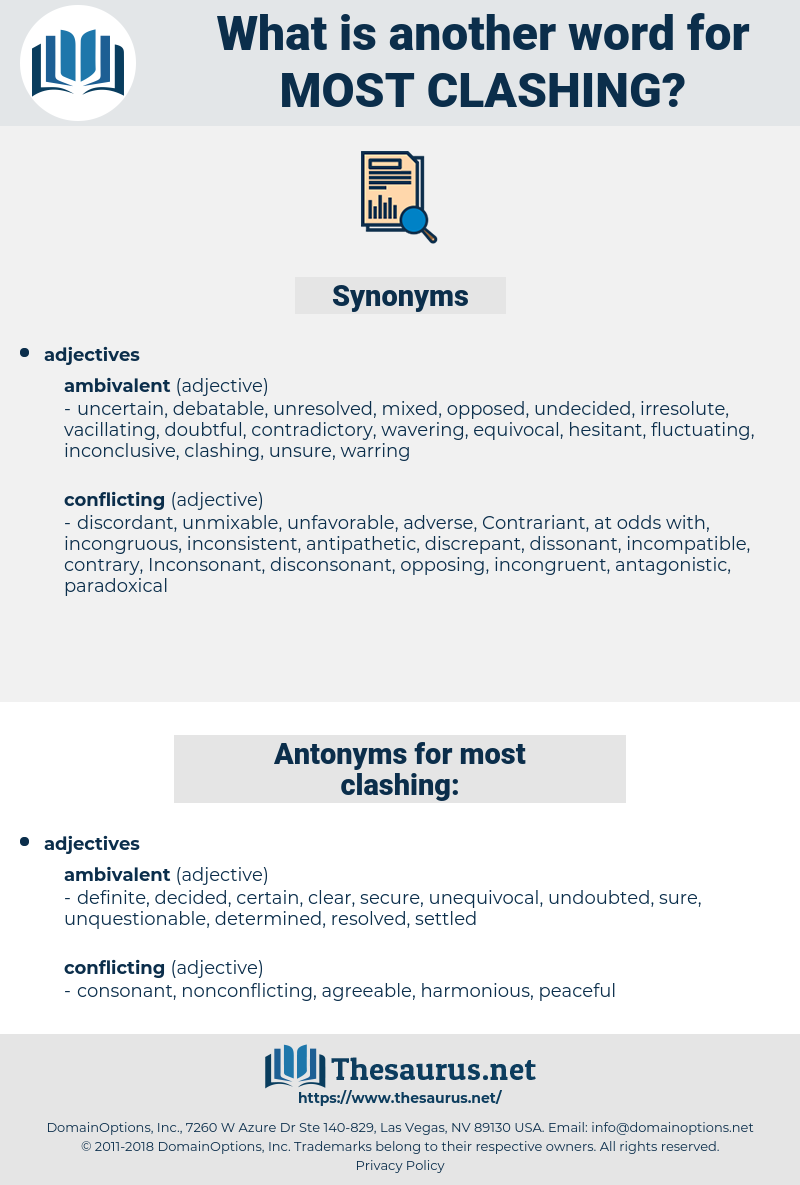 most clashing, synonym most clashing, another word for most clashing, words like most clashing, thesaurus most clashing