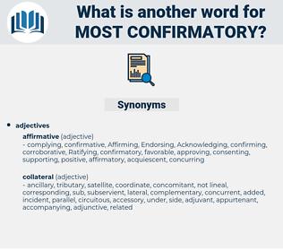 most confirmatory, synonym most confirmatory, another word for most confirmatory, words like most confirmatory, thesaurus most confirmatory