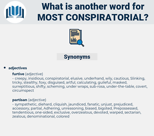 most conspiratorial, synonym most conspiratorial, another word for most conspiratorial, words like most conspiratorial, thesaurus most conspiratorial