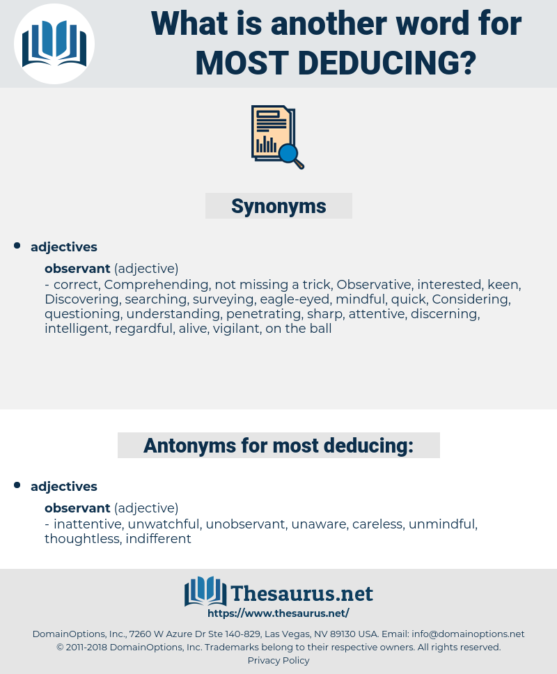 most deducing, synonym most deducing, another word for most deducing, words like most deducing, thesaurus most deducing