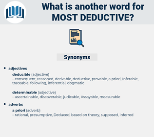 most deductive, synonym most deductive, another word for most deductive, words like most deductive, thesaurus most deductive