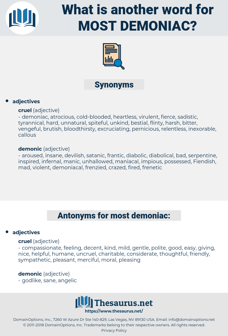 most demoniac, synonym most demoniac, another word for most demoniac, words like most demoniac, thesaurus most demoniac