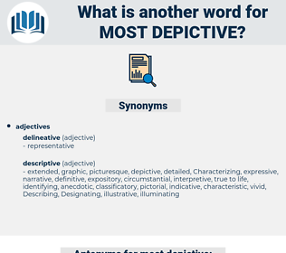 most depictive, synonym most depictive, another word for most depictive, words like most depictive, thesaurus most depictive