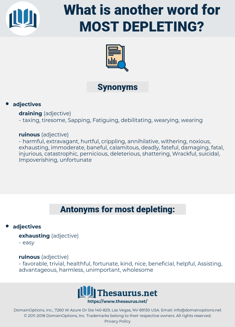 most depleting, synonym most depleting, another word for most depleting, words like most depleting, thesaurus most depleting