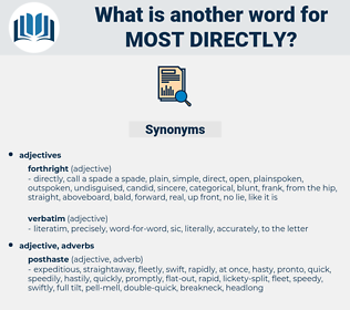 most directly, synonym most directly, another word for most directly, words like most directly, thesaurus most directly