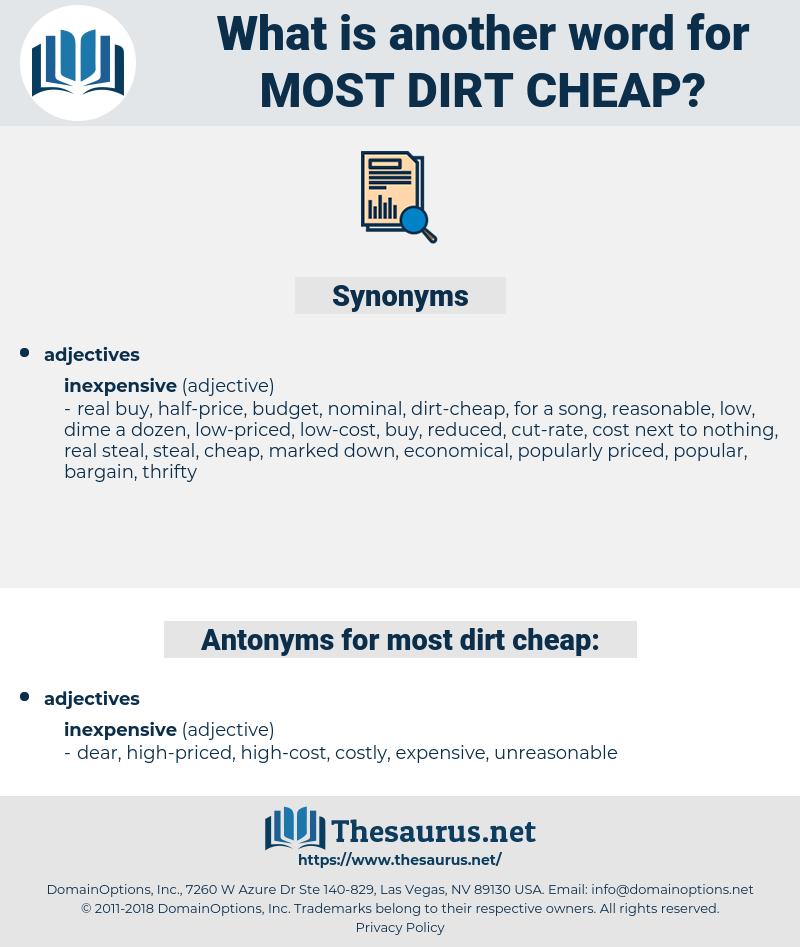 most dirt-cheap, synonym most dirt-cheap, another word for most dirt-cheap, words like most dirt-cheap, thesaurus most dirt-cheap