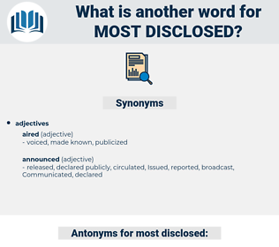 most disclosed, synonym most disclosed, another word for most disclosed, words like most disclosed, thesaurus most disclosed