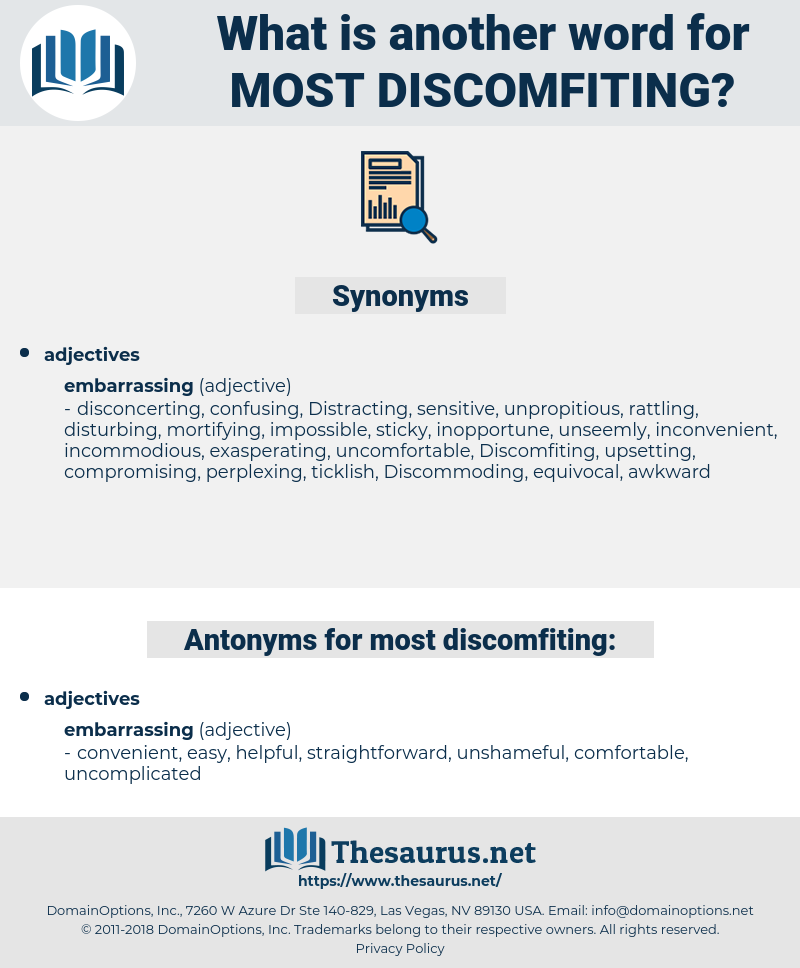most discomfiting, synonym most discomfiting, another word for most discomfiting, words like most discomfiting, thesaurus most discomfiting