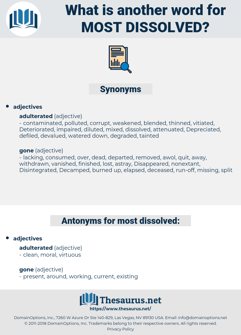 most dissolved, synonym most dissolved, another word for most dissolved, words like most dissolved, thesaurus most dissolved