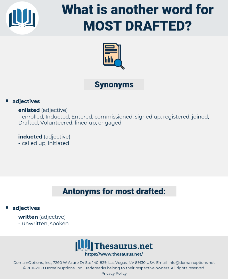 most drafted, synonym most drafted, another word for most drafted, words like most drafted, thesaurus most drafted