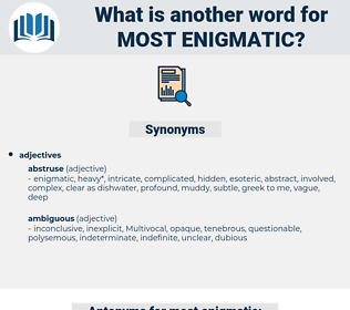 most enigmatic, synonym most enigmatic, another word for most enigmatic, words like most enigmatic, thesaurus most enigmatic
