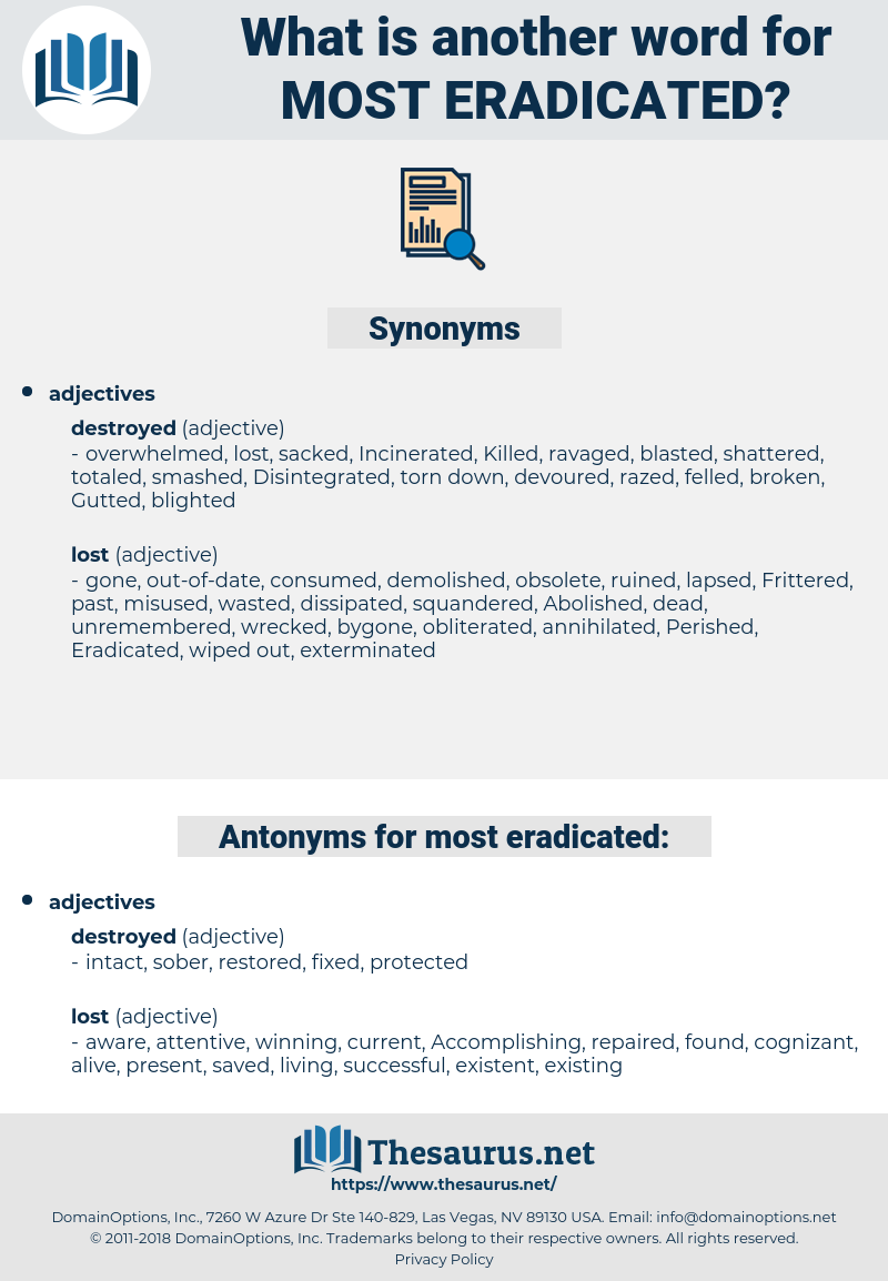 most eradicated, synonym most eradicated, another word for most eradicated, words like most eradicated, thesaurus most eradicated