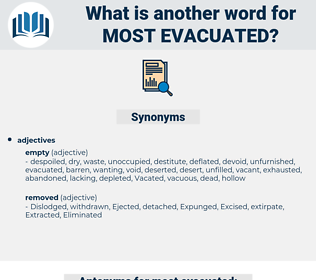 most evacuated, synonym most evacuated, another word for most evacuated, words like most evacuated, thesaurus most evacuated