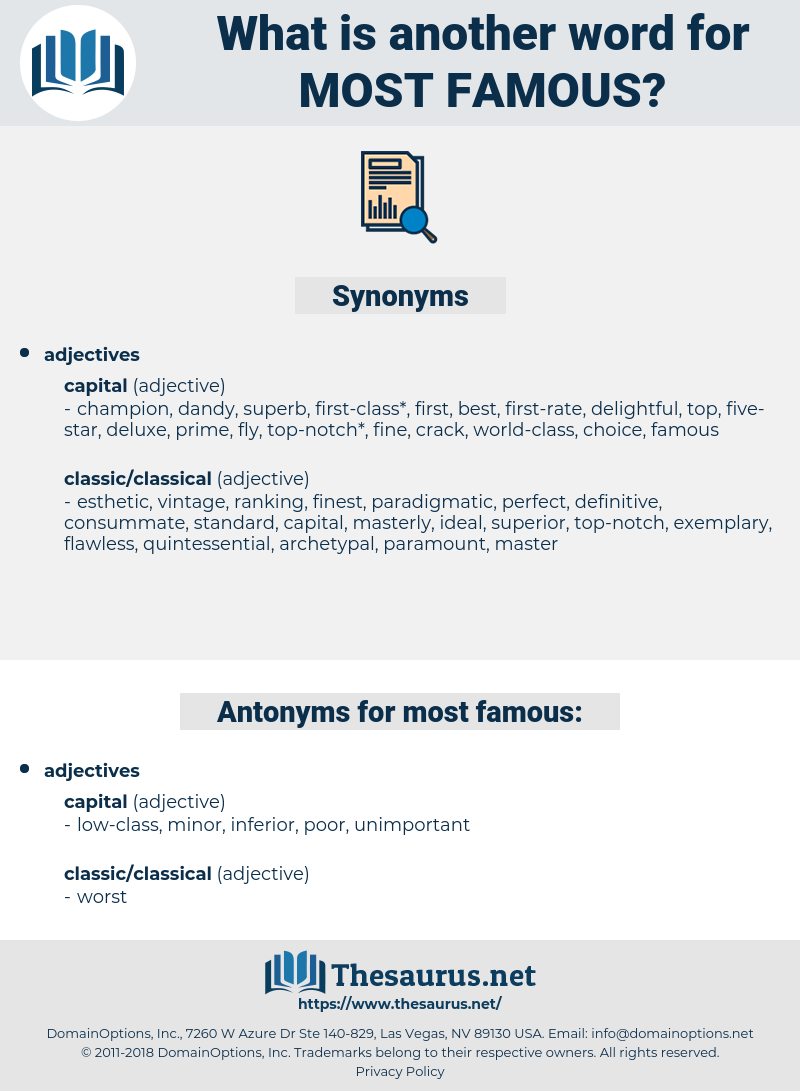 most famous, synonym most famous, another word for most famous, words like most famous, thesaurus most famous