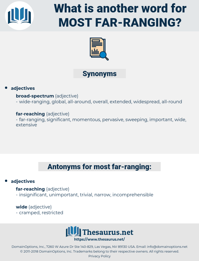 most far ranging, synonym most far ranging, another word for most far ranging, words like most far ranging, thesaurus most far ranging