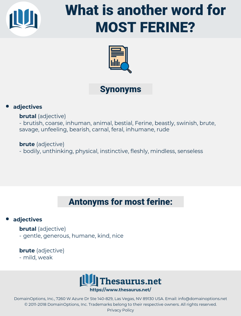 most ferine, synonym most ferine, another word for most ferine, words like most ferine, thesaurus most ferine