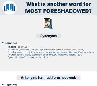 most foreshadowed, synonym most foreshadowed, another word for most foreshadowed, words like most foreshadowed, thesaurus most foreshadowed