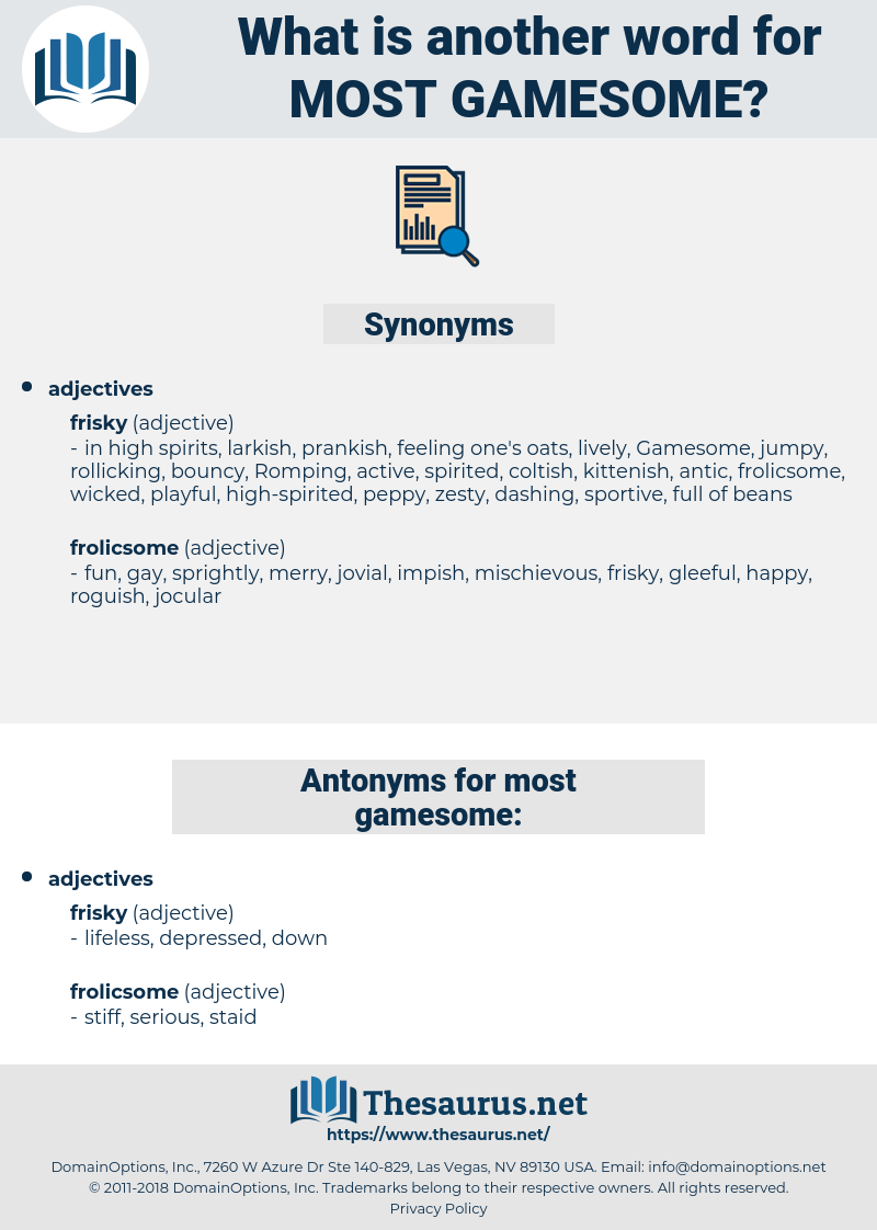 most gamesome, synonym most gamesome, another word for most gamesome, words like most gamesome, thesaurus most gamesome