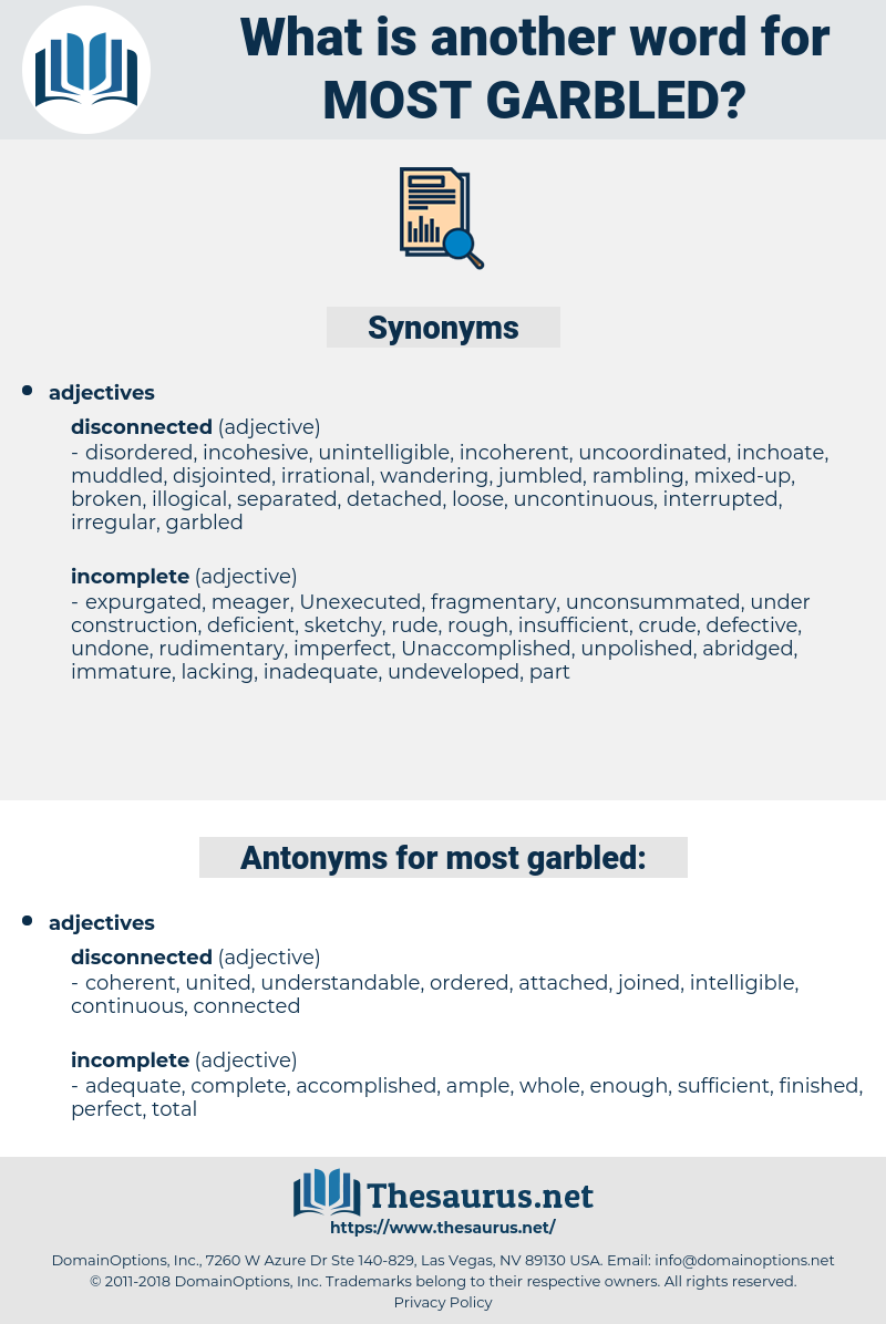 most garbled, synonym most garbled, another word for most garbled, words like most garbled, thesaurus most garbled
