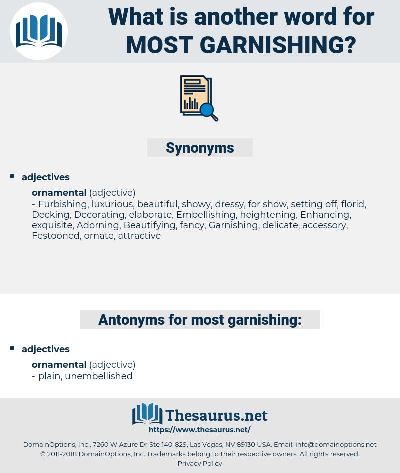 most garnishing, synonym most garnishing, another word for most garnishing, words like most garnishing, thesaurus most garnishing